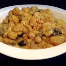 Curry de garbanzos, calabaza y berenjena