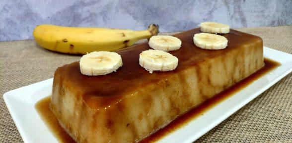 Flan de plátano sin huevo ni horno