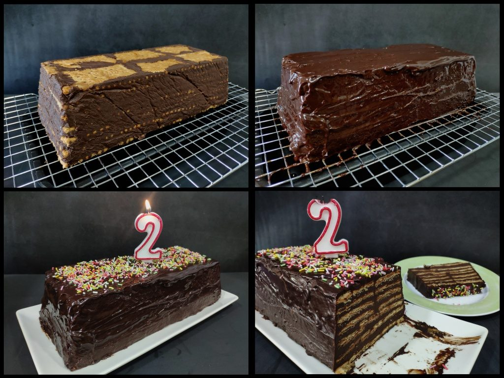 Tarta de galletas y chocolate (composición)