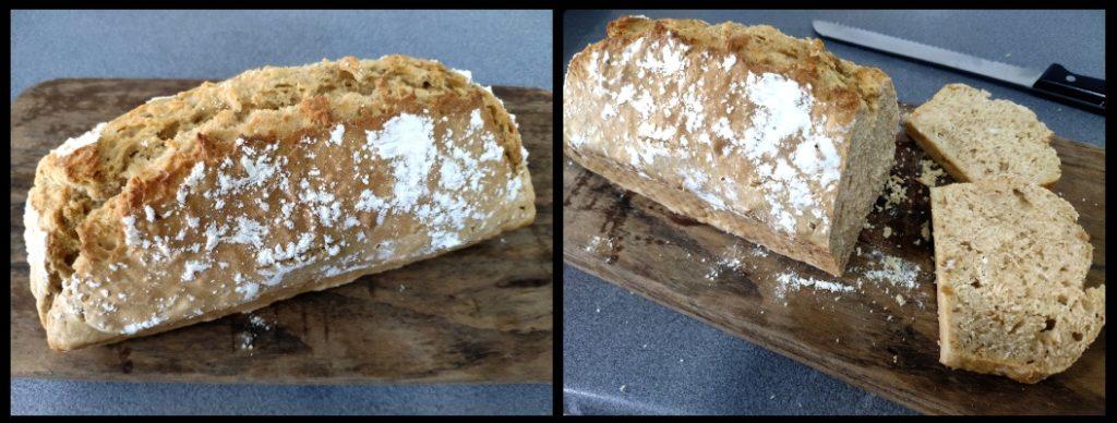 Pan de cerveza con harina común y levadura química (desmoldado y corte)