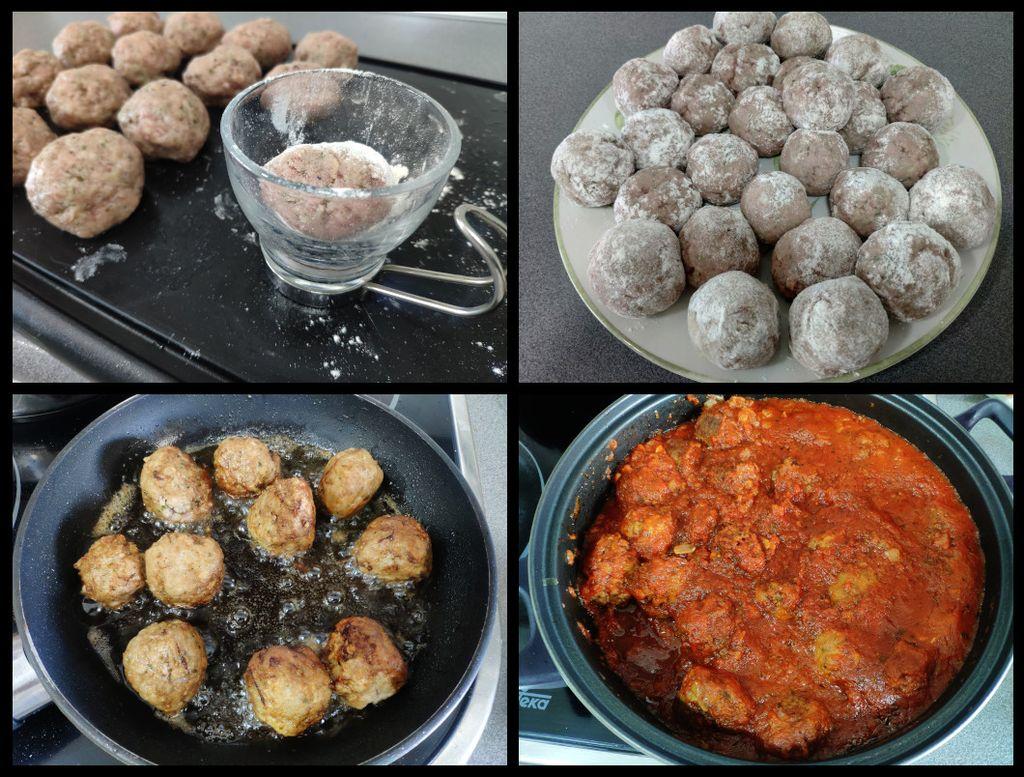 Albóndigas con tomate (proceso)