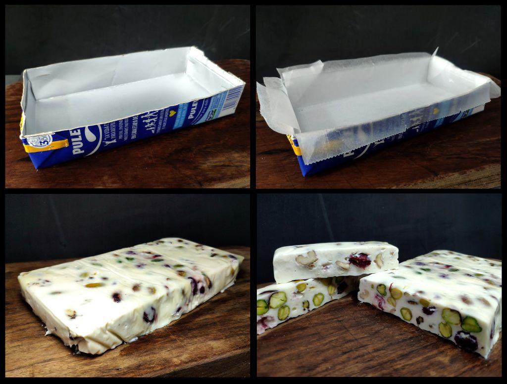 Turrón de camembert y frutos secos (composición)